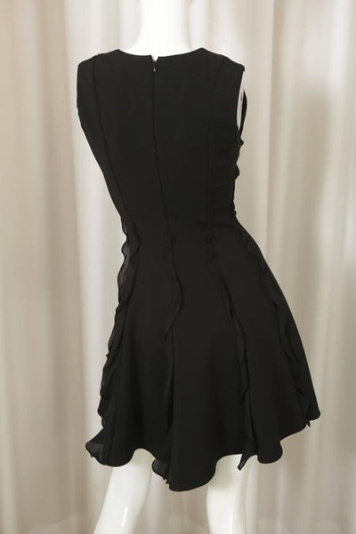 Cushnie Et Ochs Black S/L Stretch Dress W/ Ruffle Detail