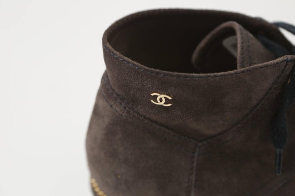 Chanel Tie-Up Grey Suede Booties