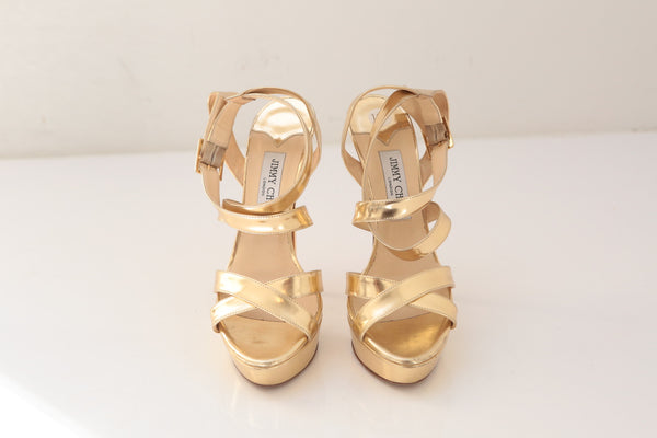 Jimmy Choo Gold Mirror Sandals