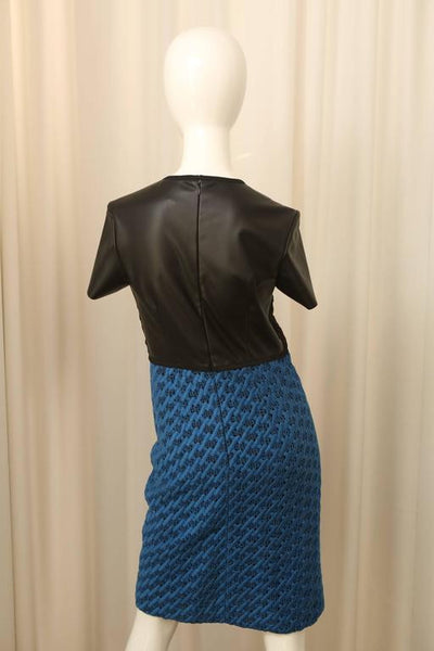Derek Lam Black/Blue Short Sleeve Dress