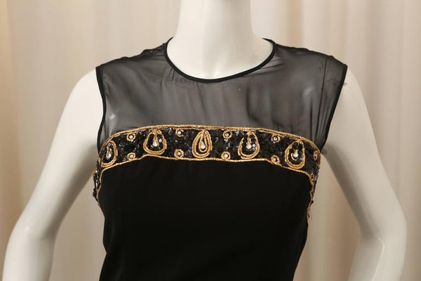 CD de Christian Dior Black/Gold Dress with Sequin/Mesh Detail