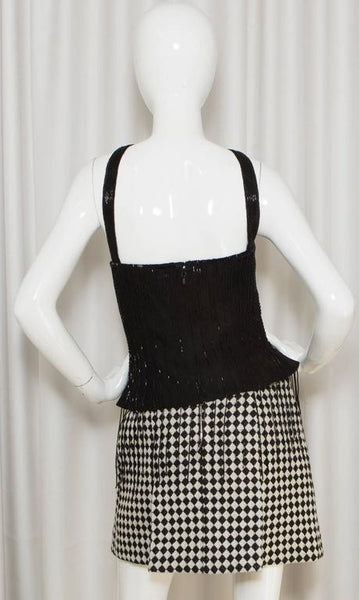 Chanel Black Beaded Bustier Top