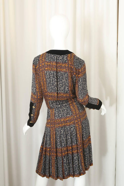 Givenchy Long Sleeve Printed Dress W/ Black Velvet & Gold Buttons