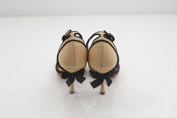 Alaia StrawBlack MaryJane Shoes W Bow Detail