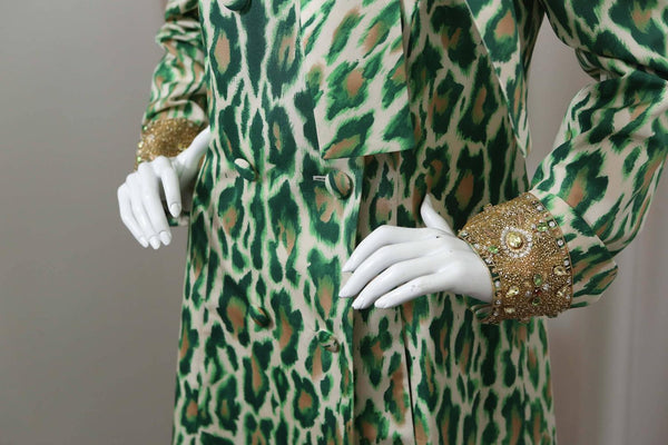 Christian Dior Silk Evening Leopard Printed Coat