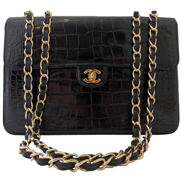 Chanel Black Crocodile Single Flap Handbag