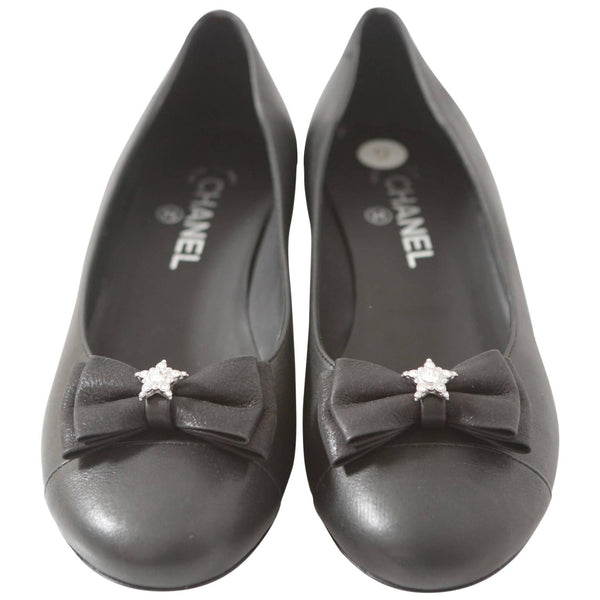 Chanel Black Leather Ballerina Flats W/ Grograin Bow & Crystal