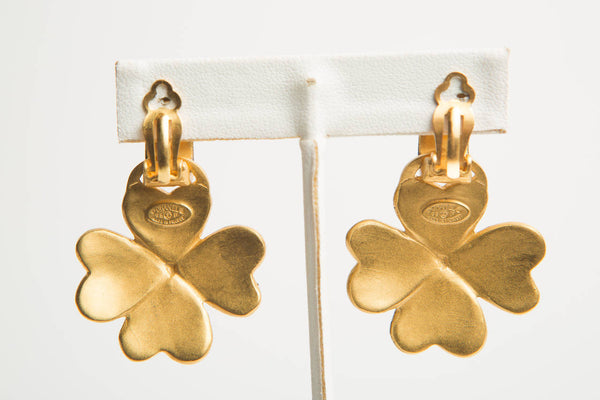 Chanel Gold Clover Dangle Clip Earrings