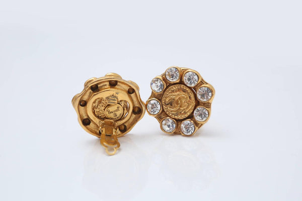 Chanel Gold/Crystal 'CC' Clip-On Earrings