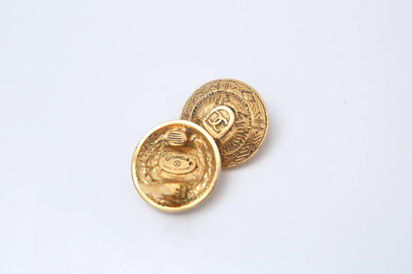 Chanel Gold Engraved Clip-On Earrings