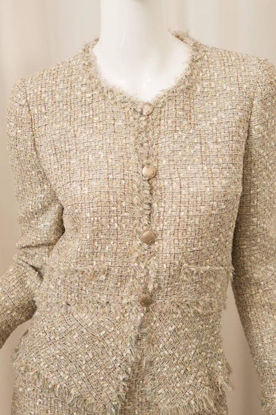 Chanel Two Piece Metallic Skirt Suit