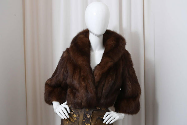 Esther Dorothy Brown Sable Fur Cropped Jacket