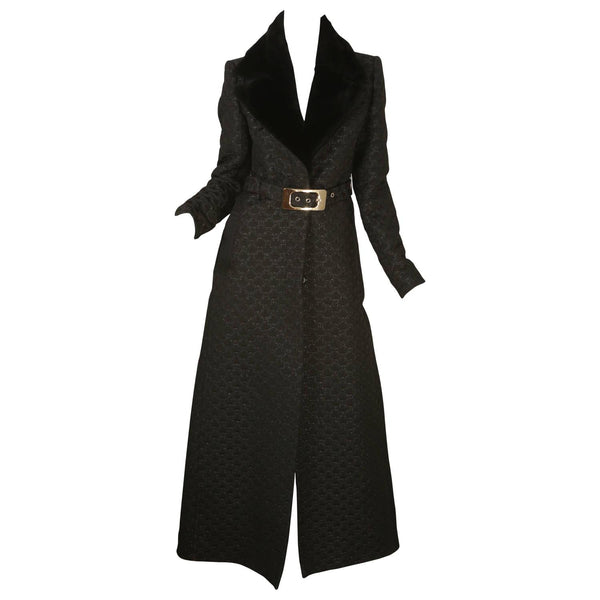 Gucci Full Length Coat with Belt & Rabbit Fur Collar