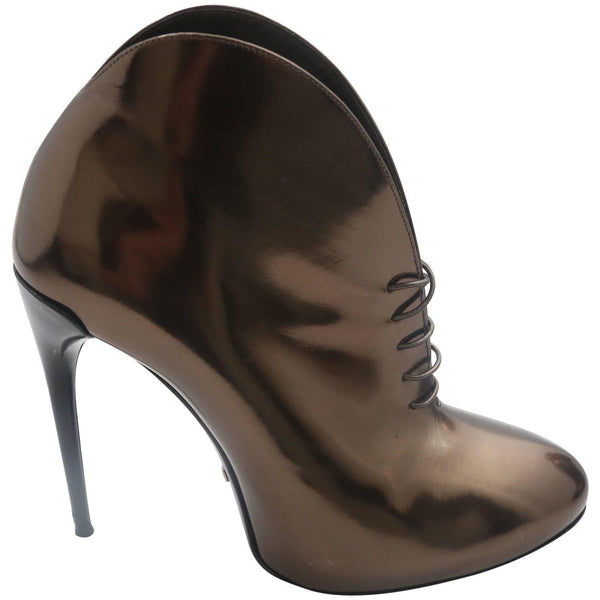 Gucci Tie Up Metallic Bronze Booties