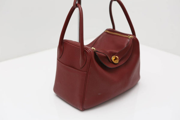 Hermes Lindy Burgundy Bag with Gold Hardware