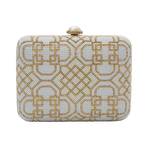 Judith Leiber Ivory and Gold Patterned Clutch