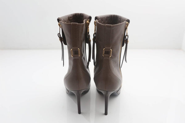 Louis Vuitton Brown Leather Booties W/ Double Side Zipper