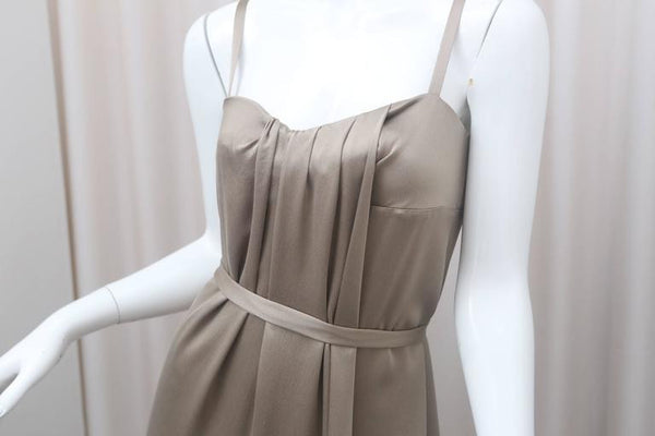 Max Mara S/L Taupe Gown W/ Front Pleat & Belt-Tie