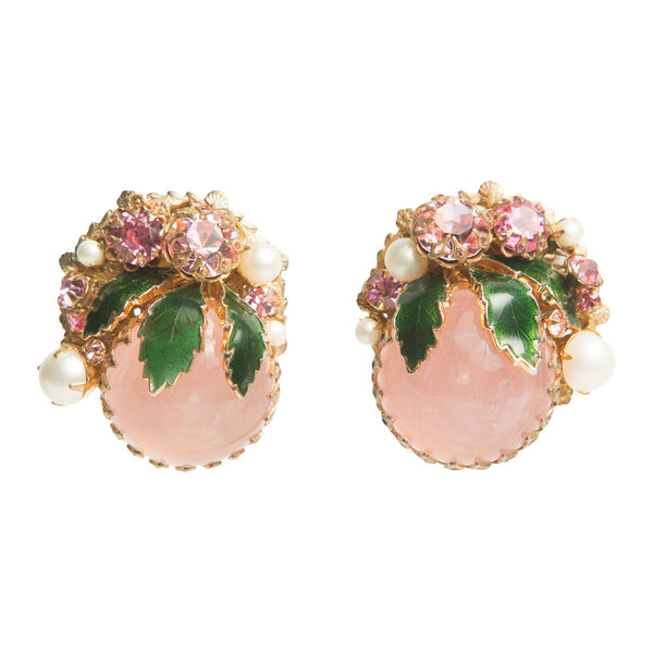 Miriam Haskell Bouquet Clip Earrings