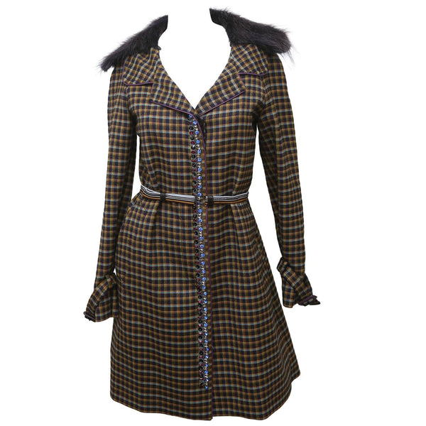 Prada Purple/Multicolor Plaid Coat W/ Belt & Fur Collar