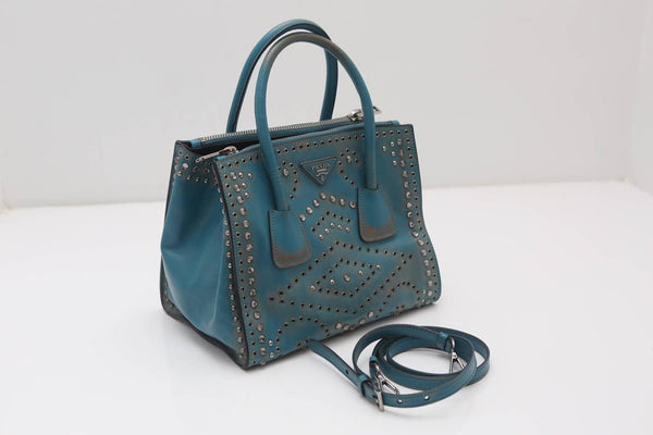 Prada Vitello Vintage Embellished Tote Fall 2014