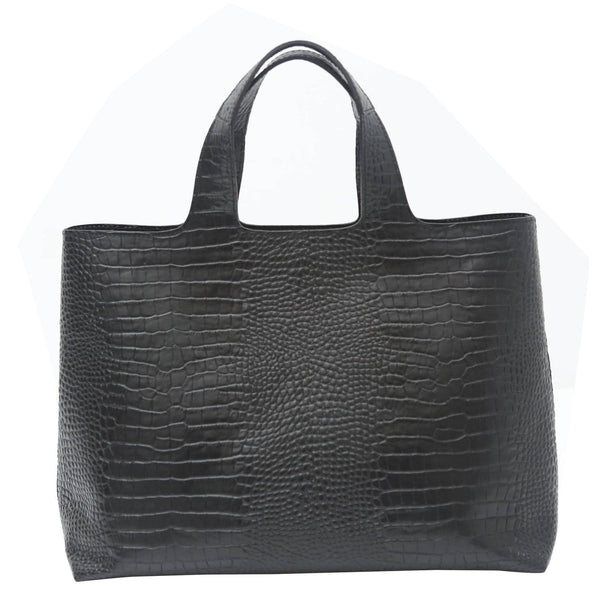 Robert Clergerie Black Leather Embossed Tote