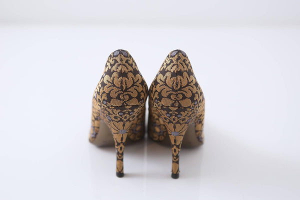 YSL Gold/Brown Patterned Heeled Pumps