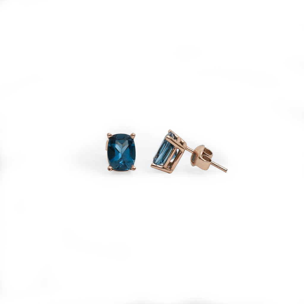 Aretes london blue y oro rosa 14K