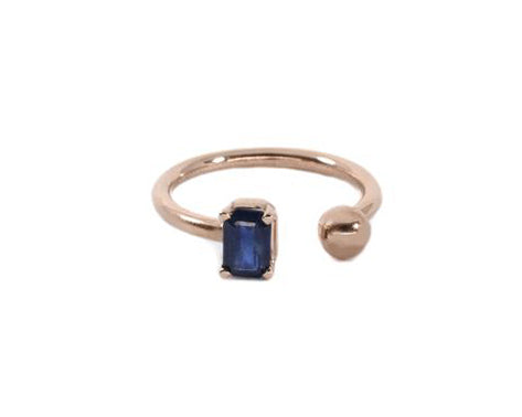 Anillo Zafiro Oro Rosa 14K / Sapphire ring in 14K Rose Gold