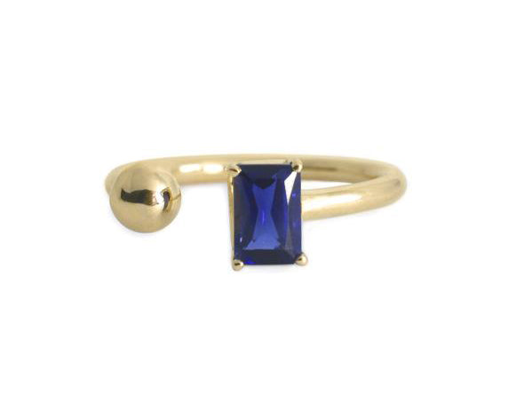 Anillo zafiro Azul Oro Amarillo 14K / Blue Sappire 14k Yellow Gold Ring