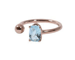 Anillo Topacio Azúl Ovalado Oro Rosa 14K / Oval Blue Topaz ring in 14K Rose Gold