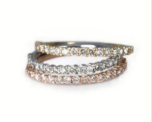 14 KARAT GOLD MINI HALF ETERNITY RING / MEDIA CHURUMBELA MINI EN ORO 14K
