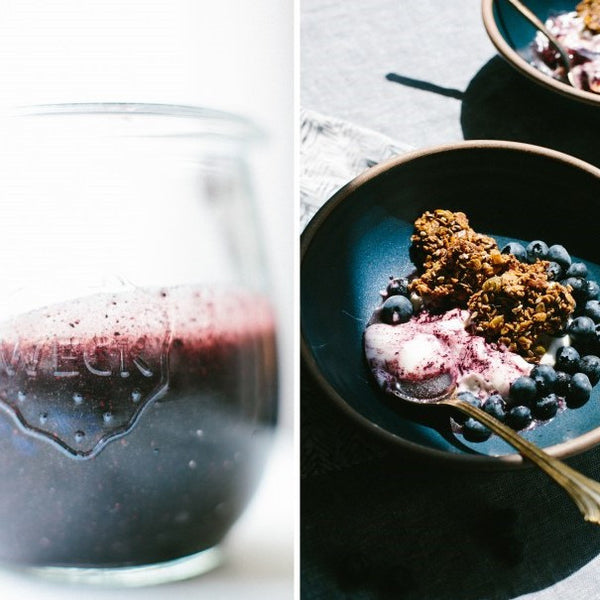 Blueberry Yogurt Bowl with Seedy Granola Crisps