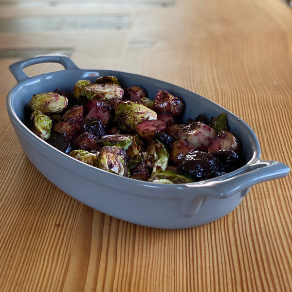 Roasted Brussels Sprouts with Blueberry Marinade