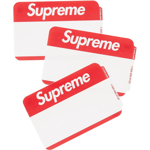 Supreme Name Badge Stickers (Pack of 100) Red