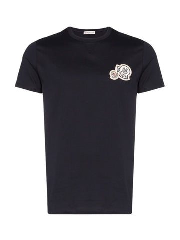 Moncler Logo Patch Navy Cotton Tee