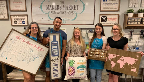 Public wood sign and project painting classes at The Makers Market and Workshops Bradenton
