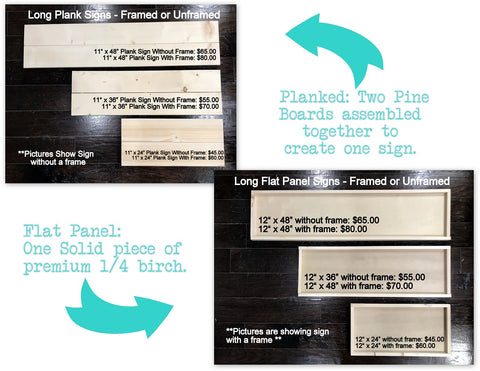 long sign sizes flat or plank