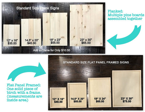Standard wood sign plank or flat panel