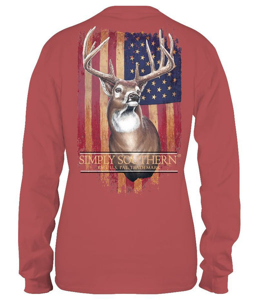 Simply Southern Long Sleeve Men's Tee Deer Spice