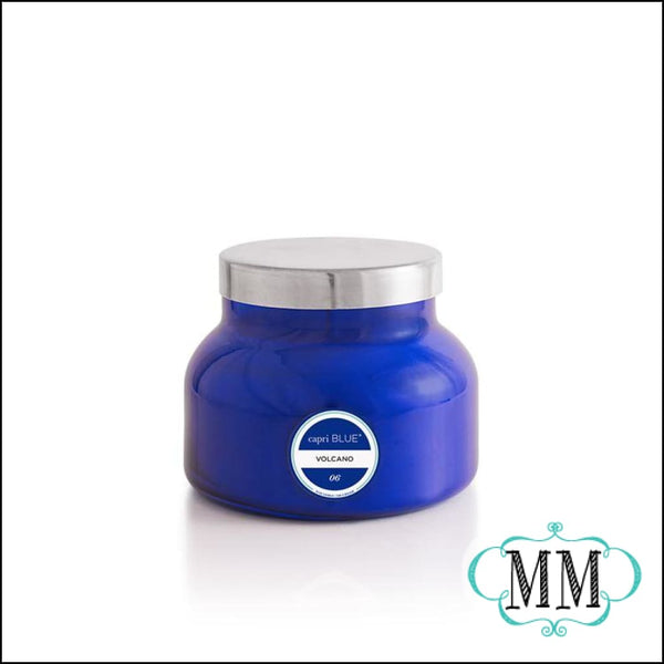 capri Blue ~ Volcano signature jar candle 19oz blue AND WHITE - Candle