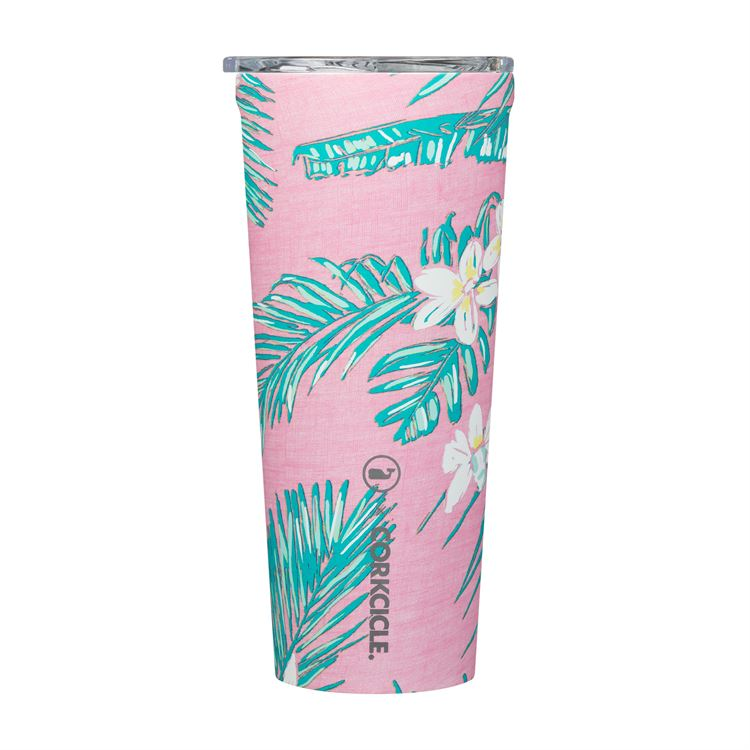 Corkcicle 24oz Vineyard Vines Pink Tropical Flowers Tumbler