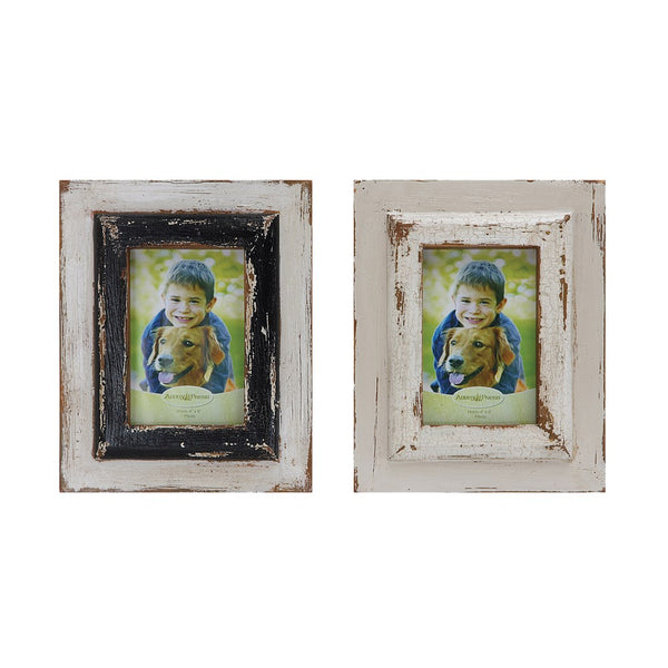 "8""L x 10""H Wood Photo Frame, Distressed Finish, 2 Colors (Holds 4"" x 6"" Photo)"