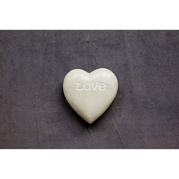 "4""L Soapstone Heart Decoration w/ Engraved ""Love"" (Each One Will Vary)"