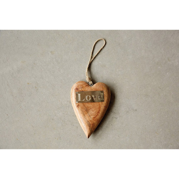 "8""H Mango Wood Hanging Heart w/ Metal ""Love"""