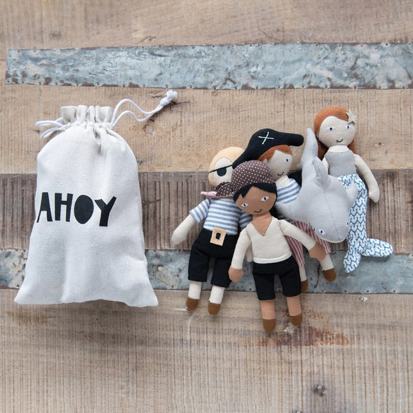 "8""H Cotton Pirate Dolls in Drawstring Bag ""AHOY"", Set of 5"