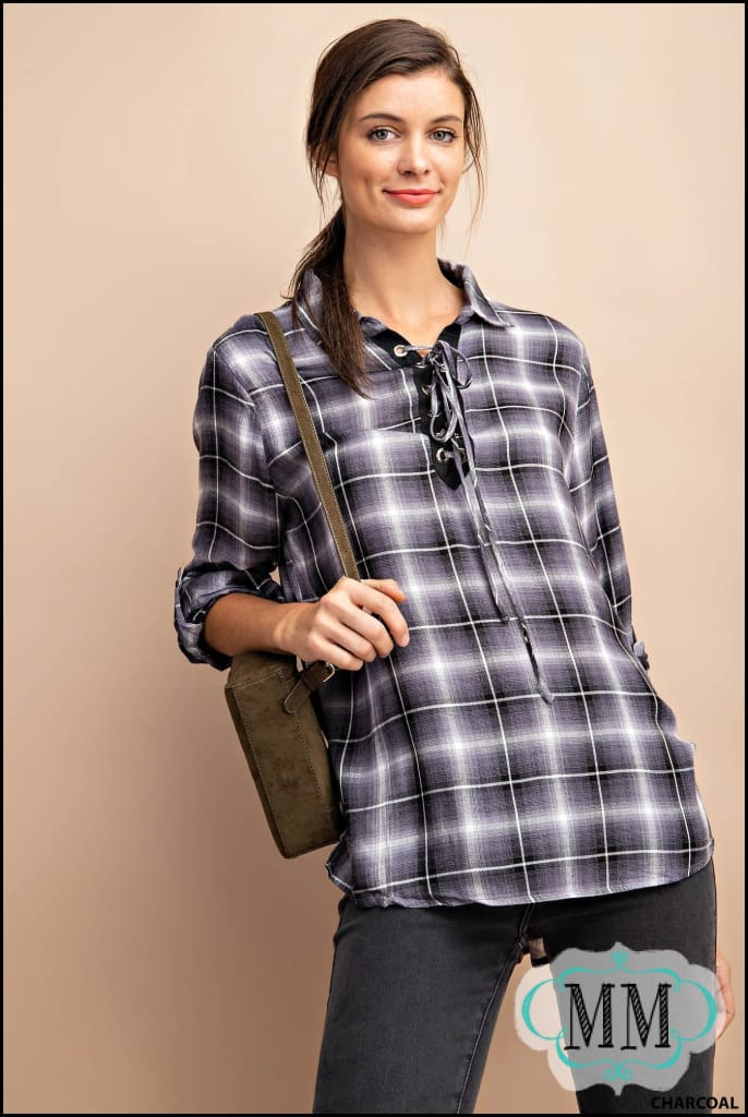 EYELET DETAIL LACE UP PLAID TOP - Womens Top