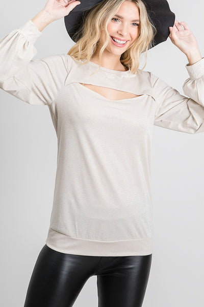 Open Cut Long Sleeve Blouse