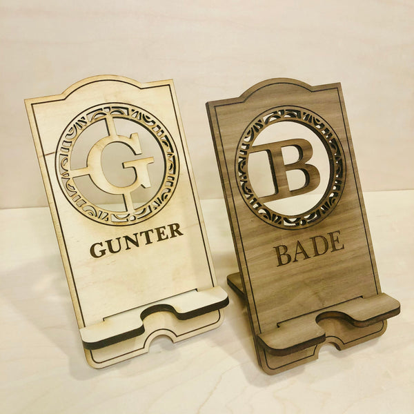 Personalized Laser Cut and Engraved Wood Cell Phone Stand