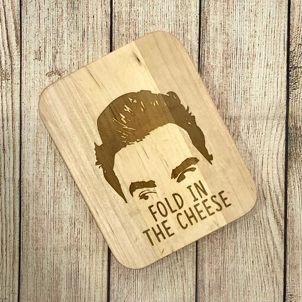 "8""x6"" Handmade and Engraved Maple Cheese Board - Kitchen Decor - Fold in the Cheese"